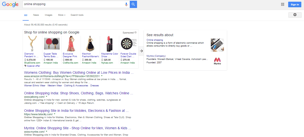 search engine result