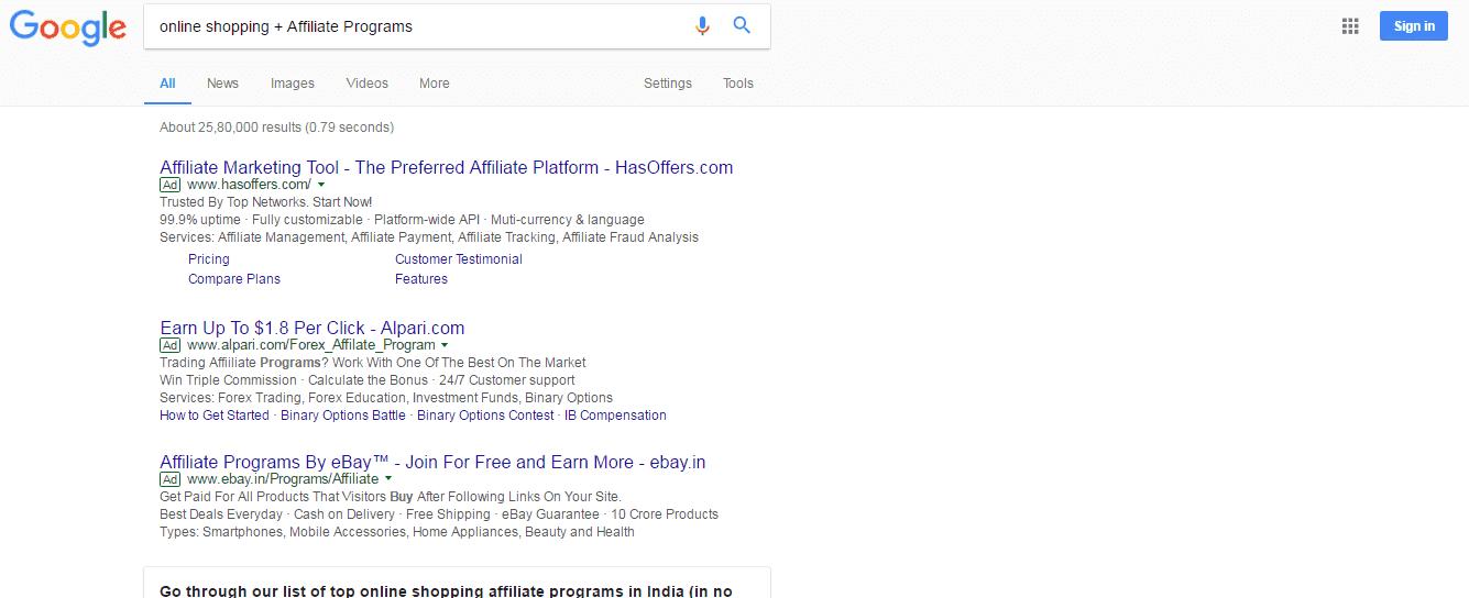 Search Affiliate Programs manually