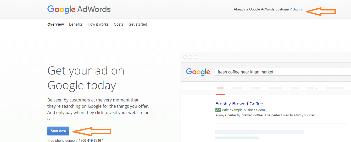 Set up Google Adwords account