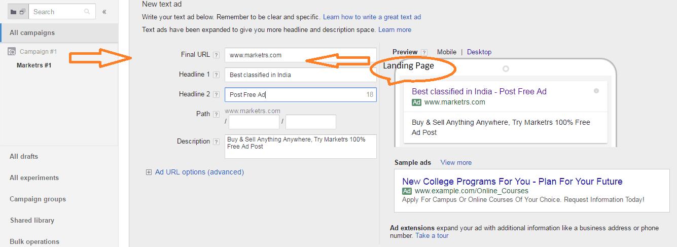 create google adwords